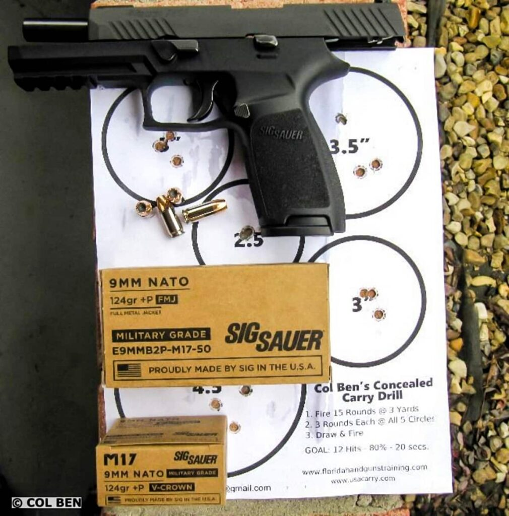 Sig Sauer M17 9mm NATO 124 grain +P Ammo with Sig Sauer P320 Full-Size 9mm Pistol