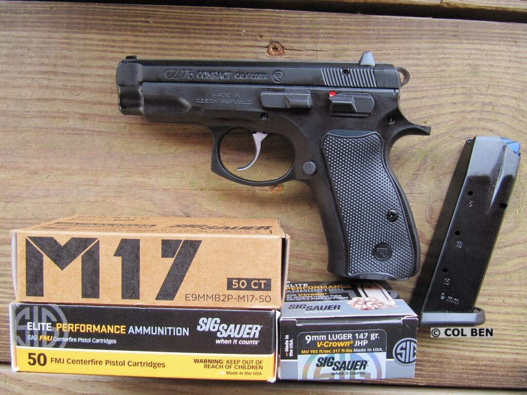 CZ 75 Compact 9mm Pistol with Sig Sauer V-Crown JHP, M17, and Elite FMJ Ammo