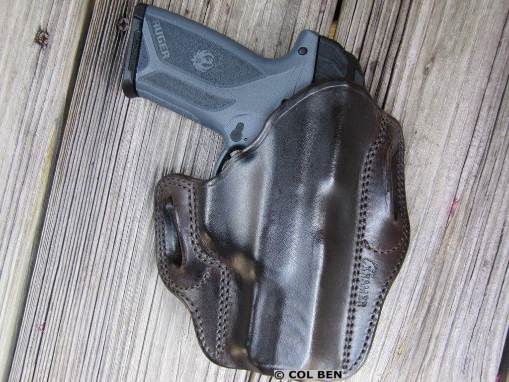 Kramer Leather OWB Horsehide Leather Belt Scabbard Holster with Ruger Security-9