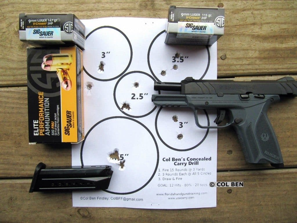 Ruger Security-9 Pistol- 14 Scoring Hits of 15 at 10 Yards Slow Fire