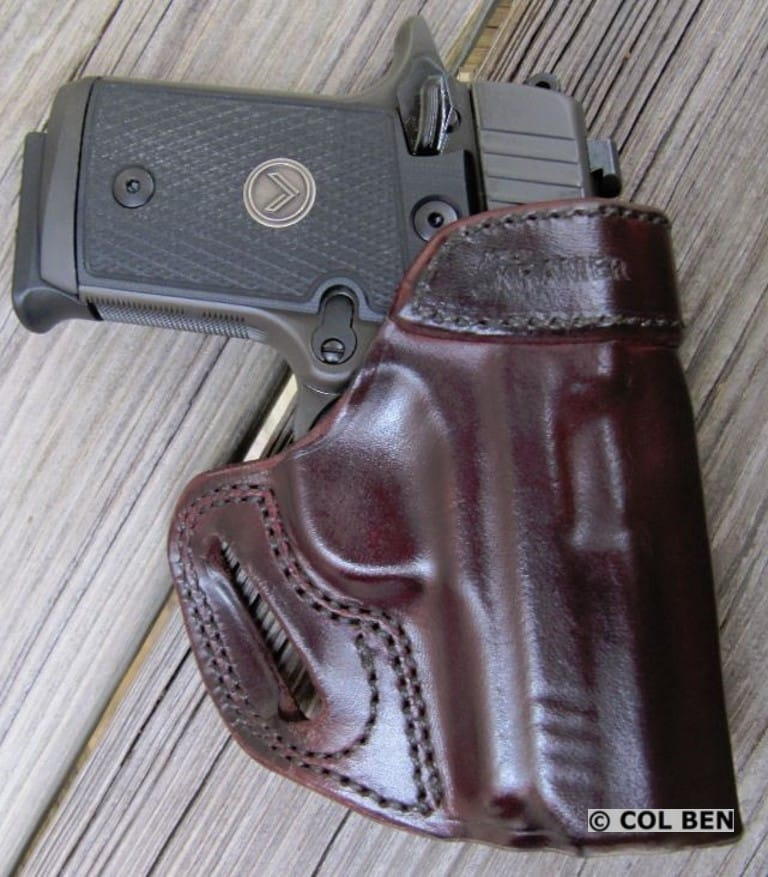 Kramer Leather OWB Horsehide Leather Belt Vertical Scabbard Holster with Sig Sauer P938 Legion 9mm
