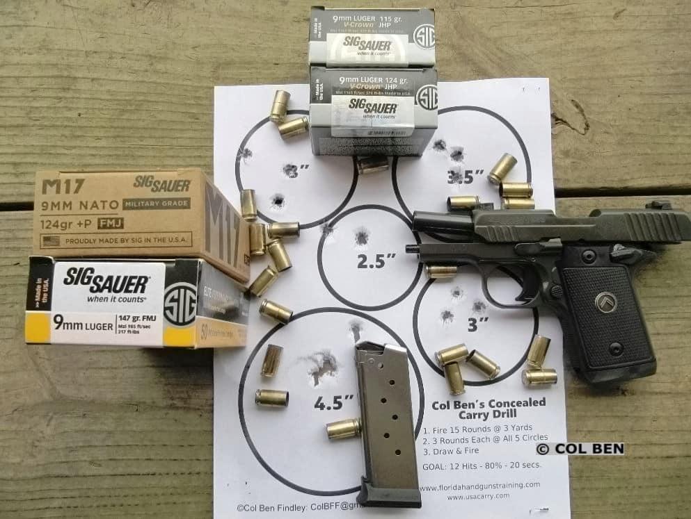 Sig P938 Legion Target Hits 14 of 15 at 7 Yards with Sig Ammo