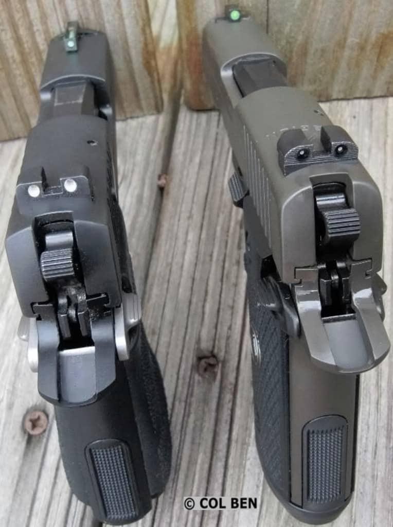 Sig P938 original model on left; Sig P938 Legion on right