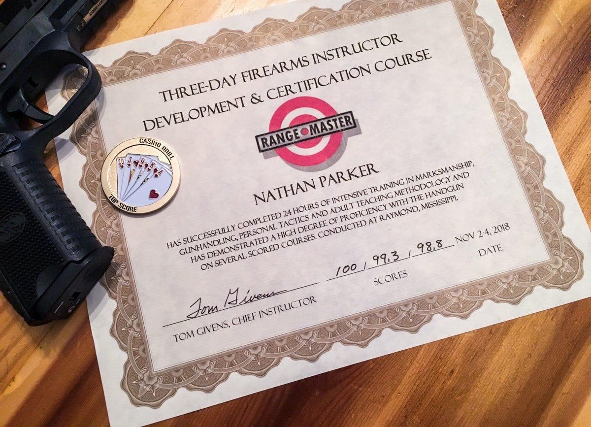 Rangermaster Instructor Development Course Certificate