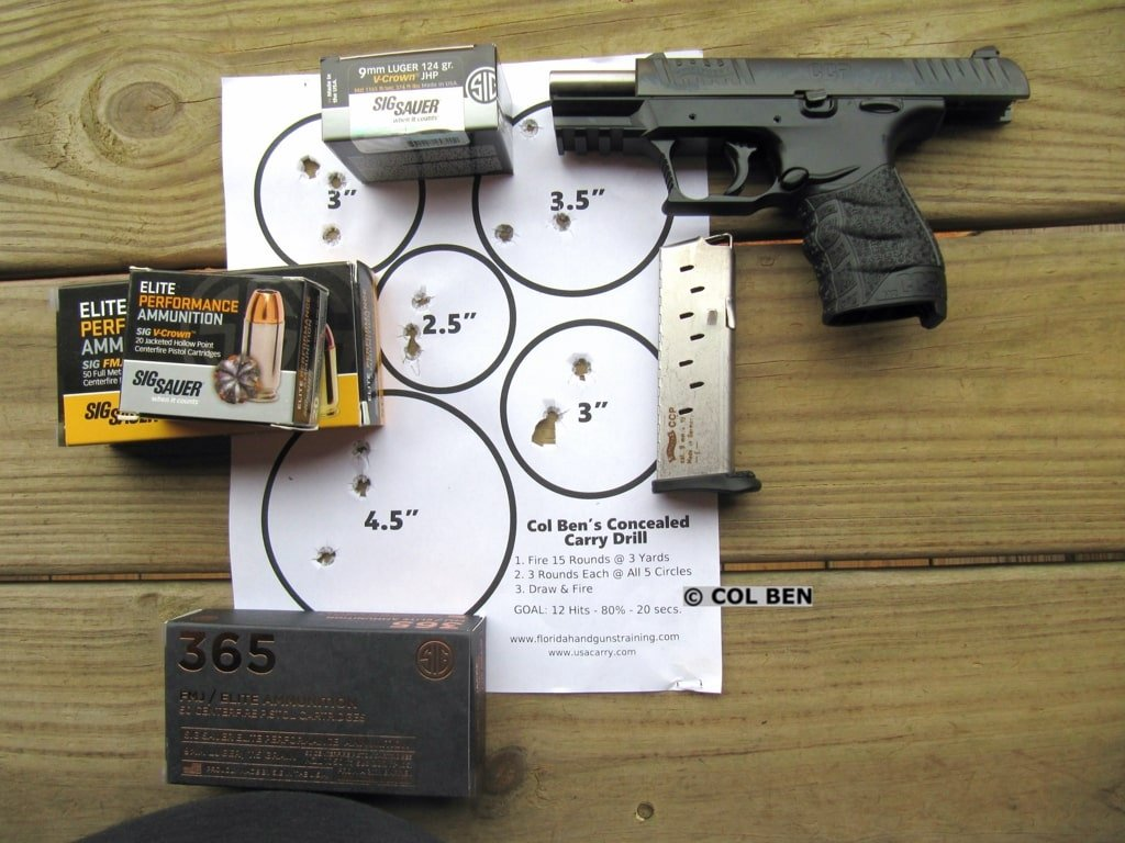 Walther CCP M2 9mm Single Stack 9mm Target Hits at 7 Yards