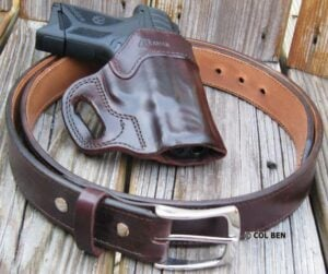 Kramer Leather Horsehide Leather Mahogany Belt & Holster with Ruger Security-9 Compact