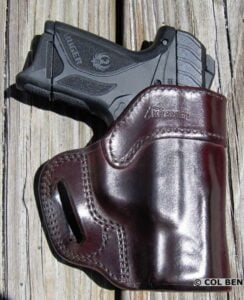 Kramer Leather OWB Horsehide Leather Mahogany Belt Scabbard Holster with Ruger Security-9 Compact