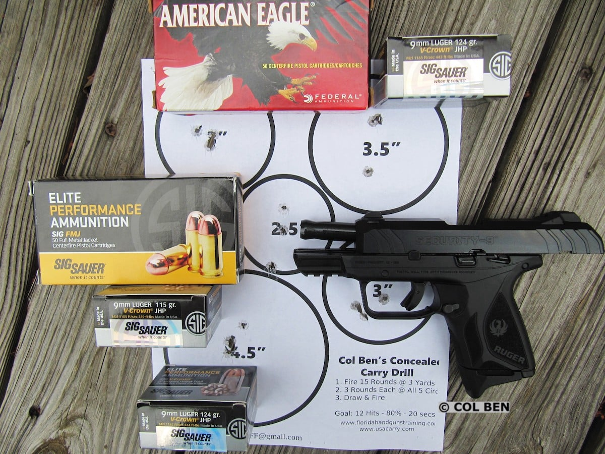 Ruger Security-9 Compact Pistol- 15 Scoring Hits on 5 Targets at 7 Yards from Draw with Reload