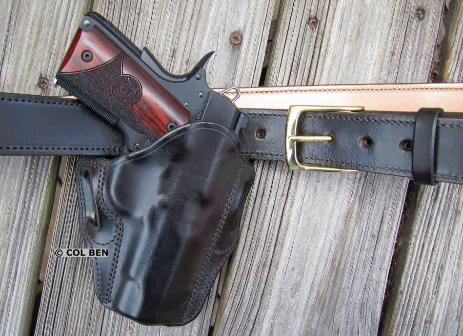 Kramer Leather Custom OWB Black Horsehide Leather Belt Scabbard Holster & Belt with Dan Wesson Vigil CCO 9mm 1911