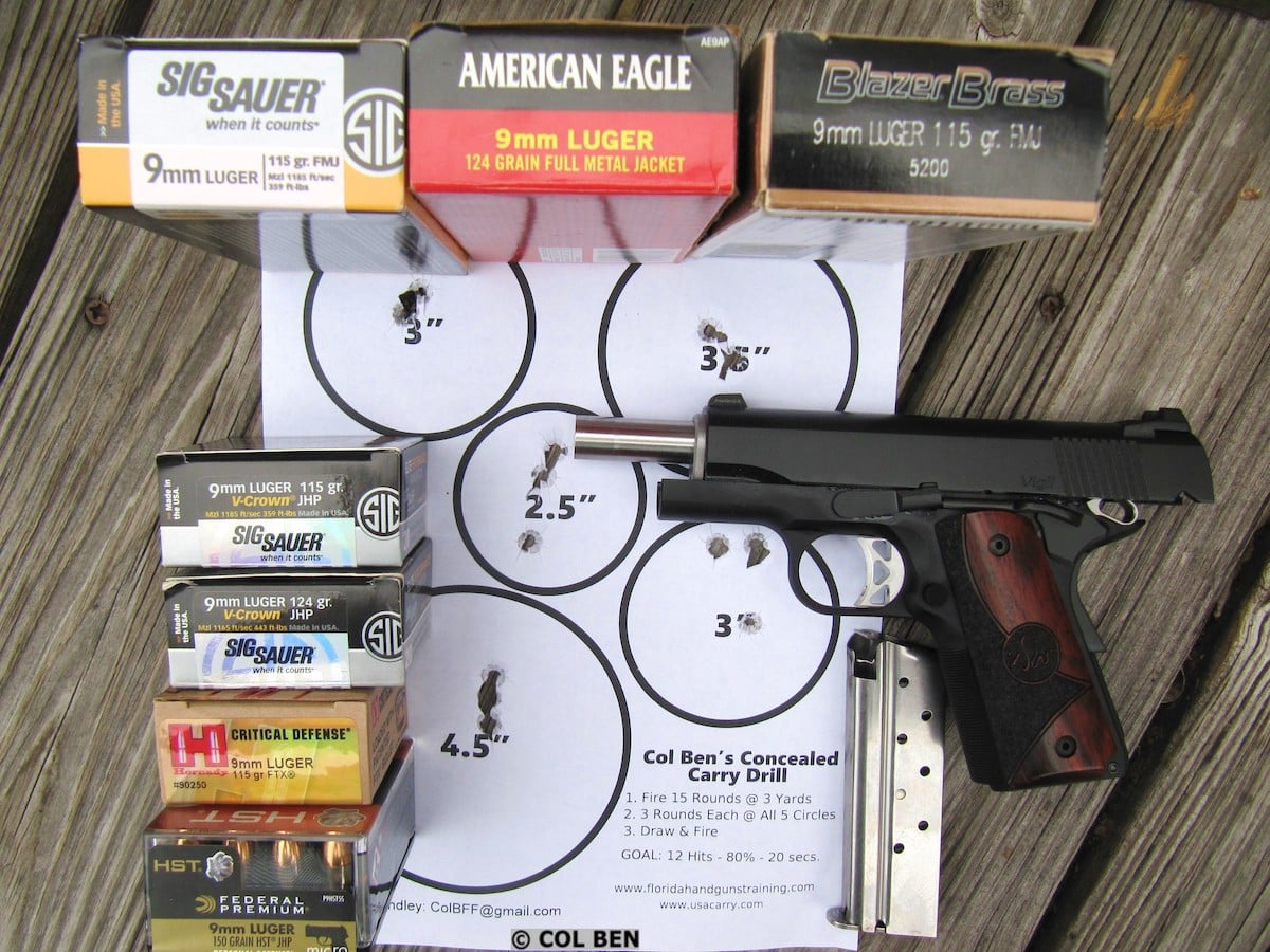 Dan Wesson Vigil CCO 9mm 1911, Premium Ammo & Col Ben's Concealed Carry Drill Target Hits- 15 at 7 Yards