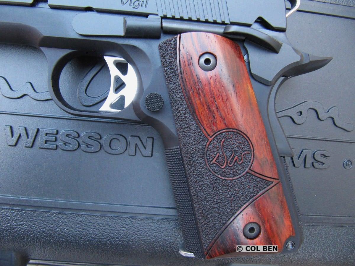 Dan Wesson Vigil CCO 9mm 1911 - Custom Cocobolo Shadow Wood Grips, K Trigger, Front & Rear Backstrap 25 LPI Checkering