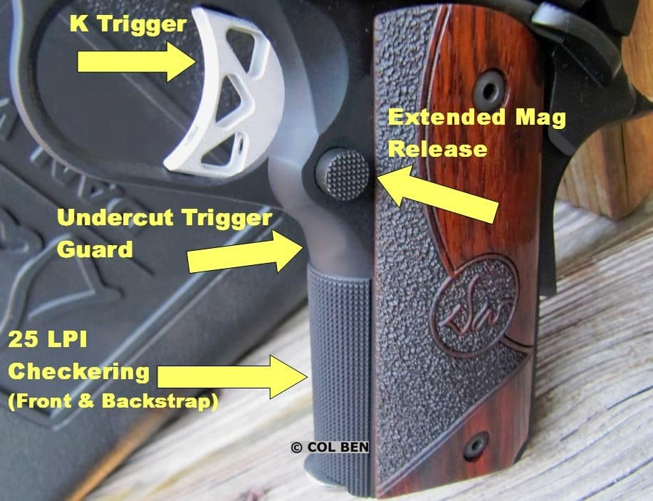 Vigil CCO 9mm's K Trigger, Undercut Trigger Guard, Extended Magazine Release, and Fine Grip Checkering