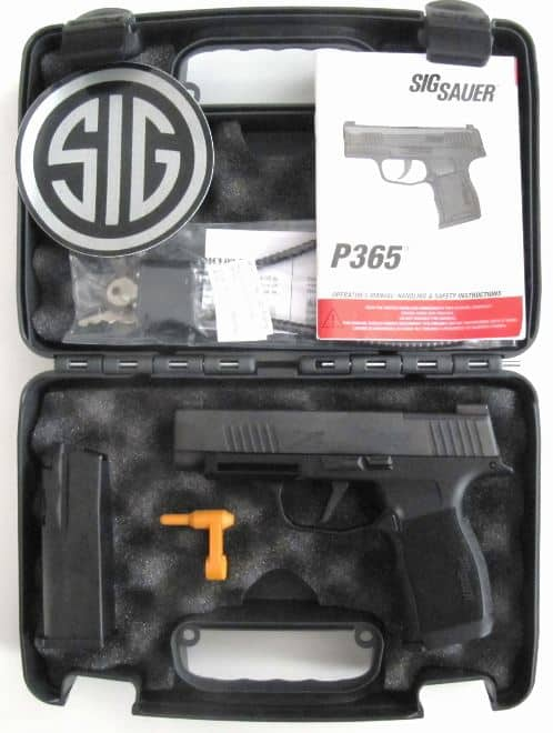 Sig Sauer P365 XL Compact 9mm, with Case, Cable Lock, Instruction Manual, Bore Flag, & 2 Magazines