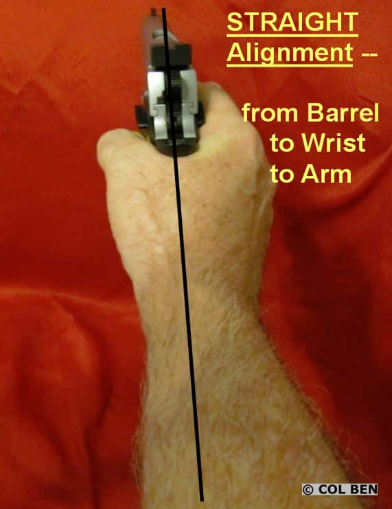 Straight Alignment from Barrel to Locked Wrist to Fiorearm