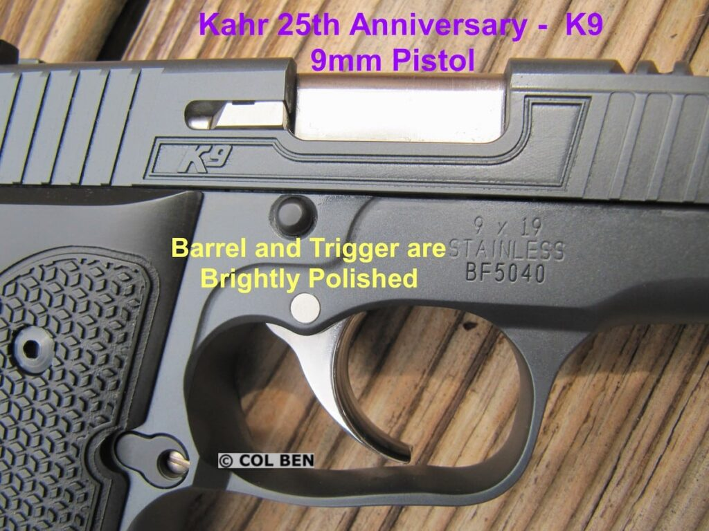 Kahr 25th Anniversary K9 with Brightly Polished Barrel and Curved Wide Trigger