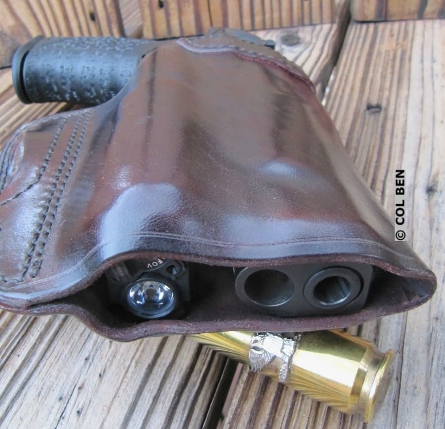 Bottom View of Kramer Vertical Scabbard Leather Holster with Viridian X5L & Full-Size Pistol Inside