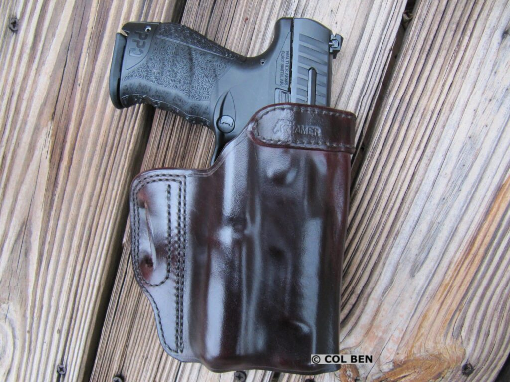 Viridian X5L Camera-Laser-Light with Walther PPQ M2 in Custom-Fit Kramer Vertical Scabbard Leather Holster