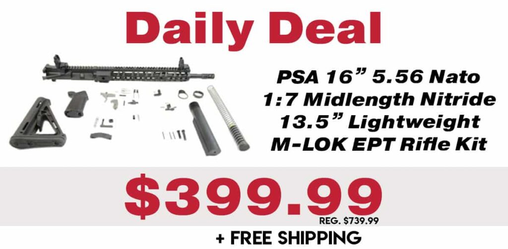 "Daily Deal: PSA 5.56 Nato 1:7 Midlength Nitride 13.5"" Lightweight M-LOK EPT Rifle Kit w/ MBUS Sight Set"