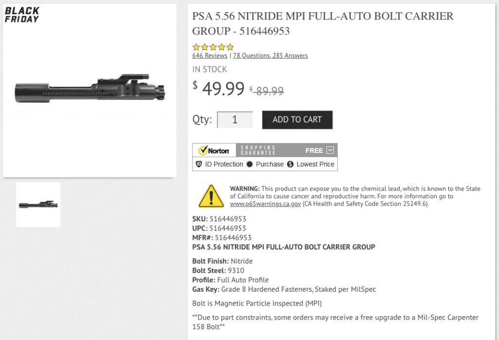 Daily Deal: PSA 5.56 Nitride MPI Full-Auto Bolt Carrier Group