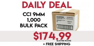 Daily Deals: CCI 9mm 115 Grain 1,000 Round Bulk Pack- $174.99 + Free Shipping