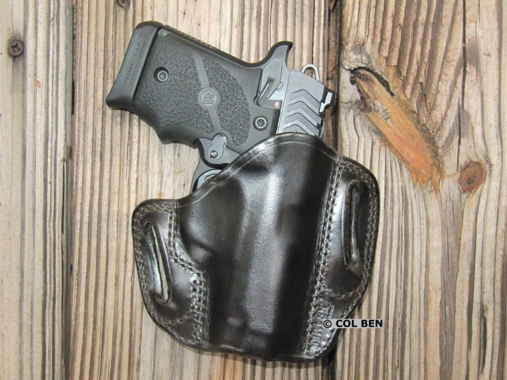 Kramer Leather Custom OWB Horsehide Leather Belt Scabbard Holster with Springfield 911 9mm Pistol
