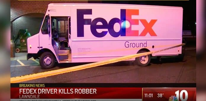 Armed Fedex Driver Kills Robber After Being Shot