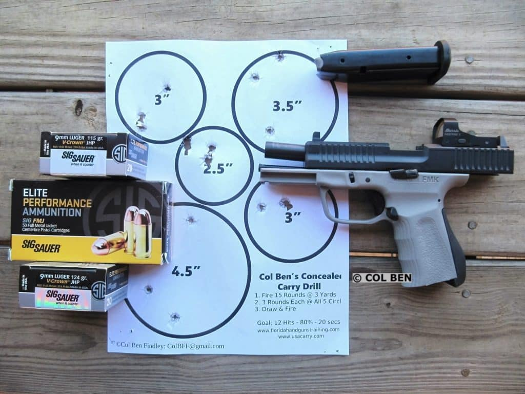 Target Hits at 7 Yards with FMK Elite Pro 9mm with Burris Fastfire 3 Red Dot Sight & Sig Sauer Ammo