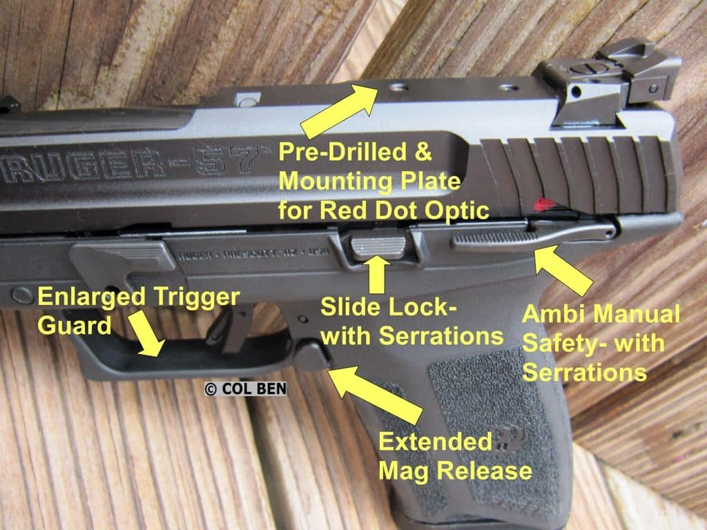 Ruger-57: Pre-Drilled for Optic, Extended Mag Release, Enlarged Trigger Guard, Ambidextrous Safety