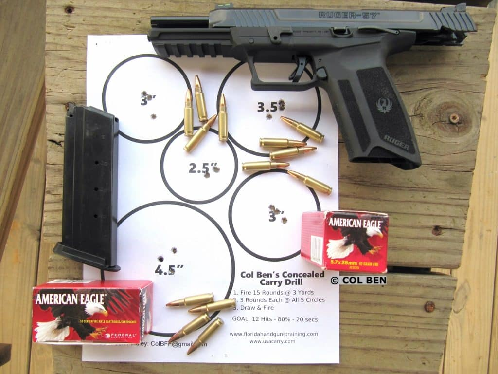 Ruger-57 Target Hits with Federal 40-Grain FMJ & FNH 40-Grain V-Max 5.7x28mm Ammo at 10 Yards