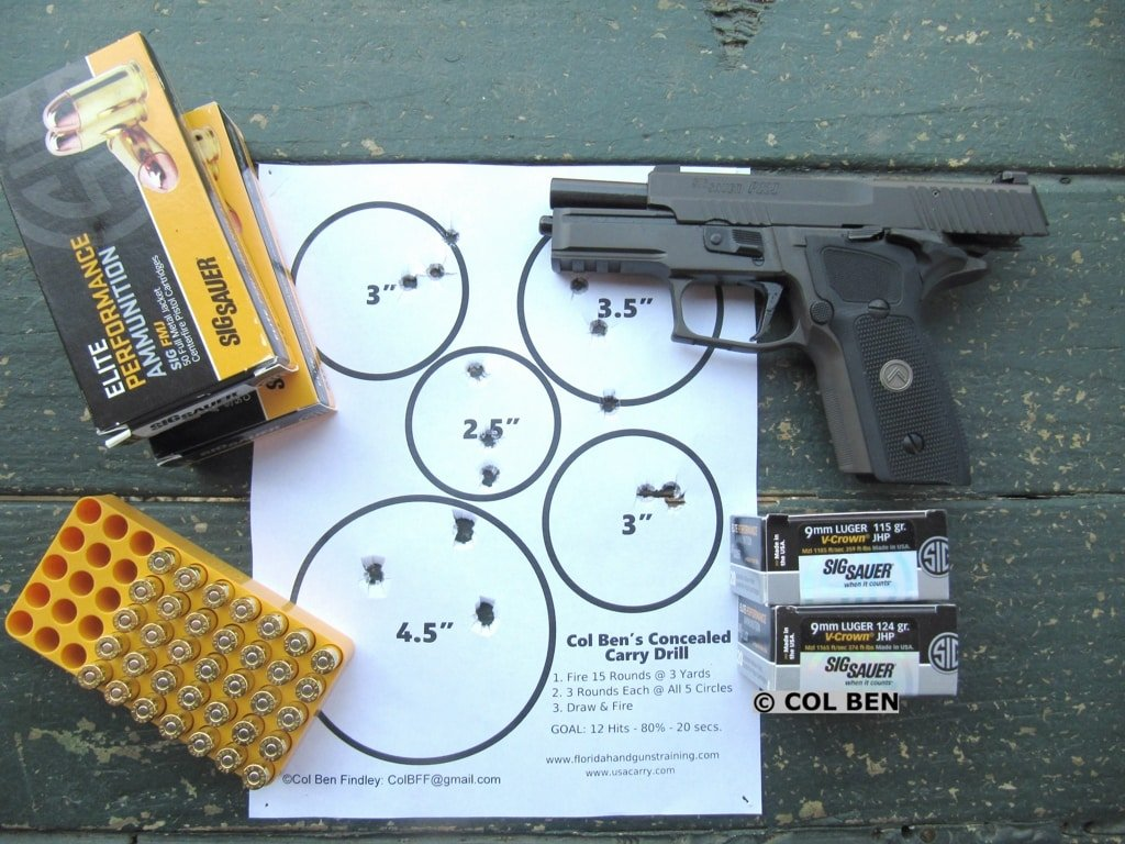 Sig Sauer P229 Legion SAO Rapid Fire Target Hits from Draw with Sig FMJ and JHP Ammo at 7 Yards