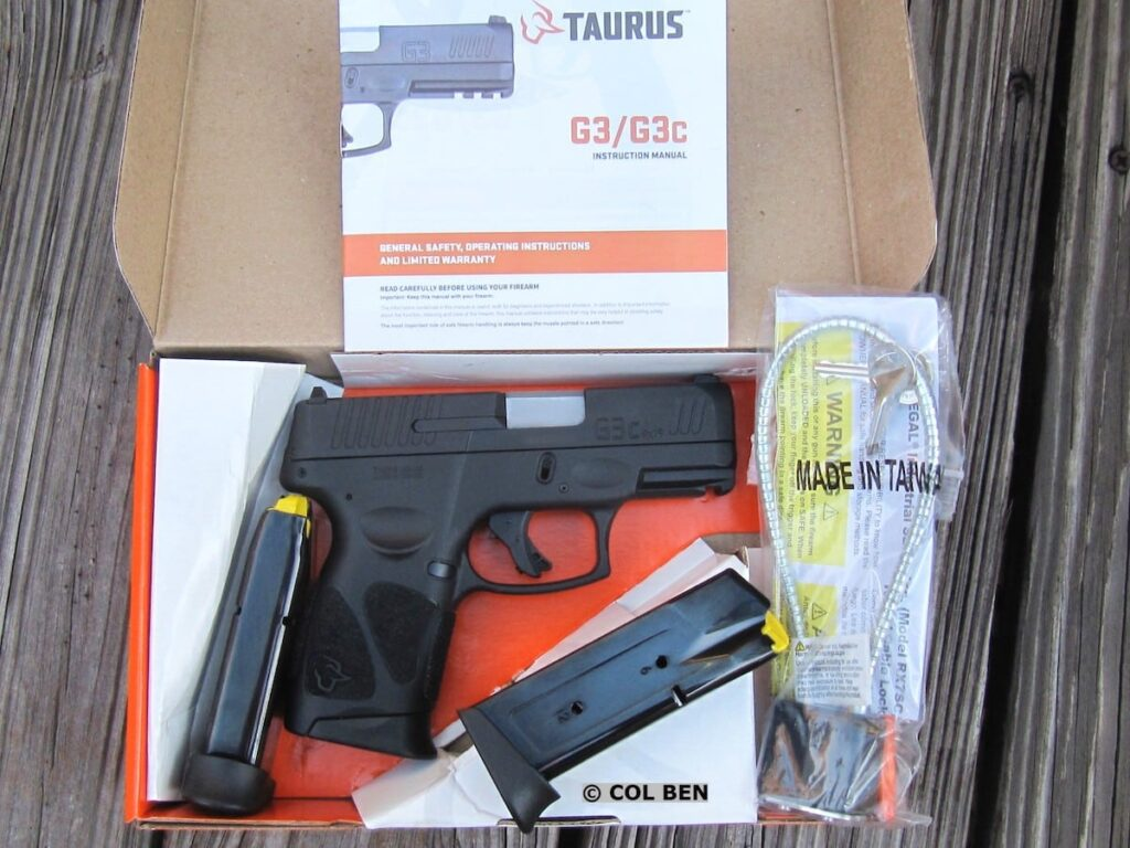 Taurus G3c Sub-Compact 9mm Pistol in Cardboard Box with 3 Steel Magazines, Lock, and Manual