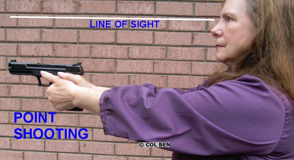 The shooter's line of sight is above the sights of the gun and the gun is aligned at the chin area.