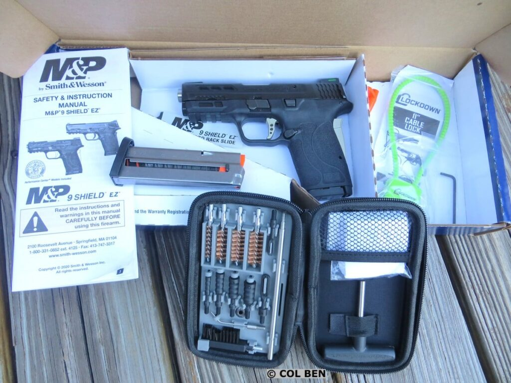 Performance Center M&P9 Shield EZ 9mm Pistol in Cardboard Box with 2 Steel Magazines, Lock, Manual & Cleaning Kit