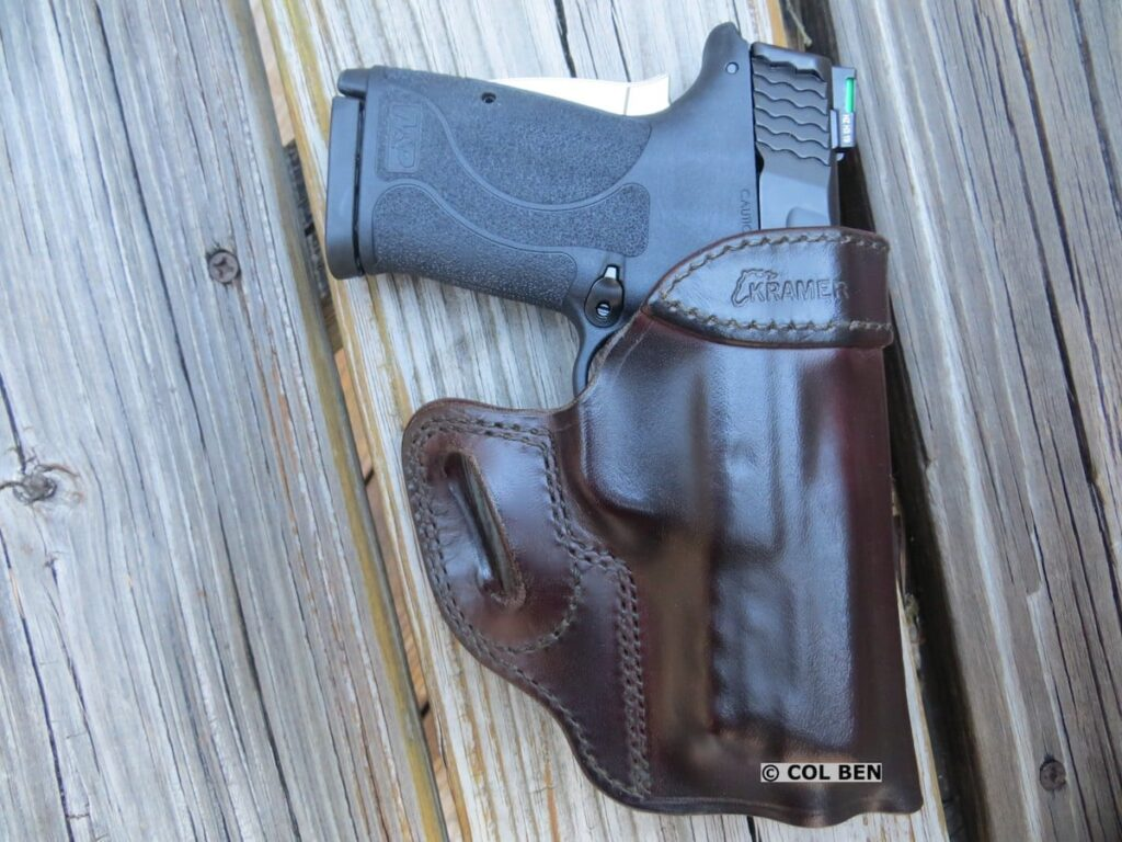 Smith & Wesson Performance Center M&P9 Shield EZ 9mm Pistol in Kramer Leather Vertical Scabbard Mahogany Holster