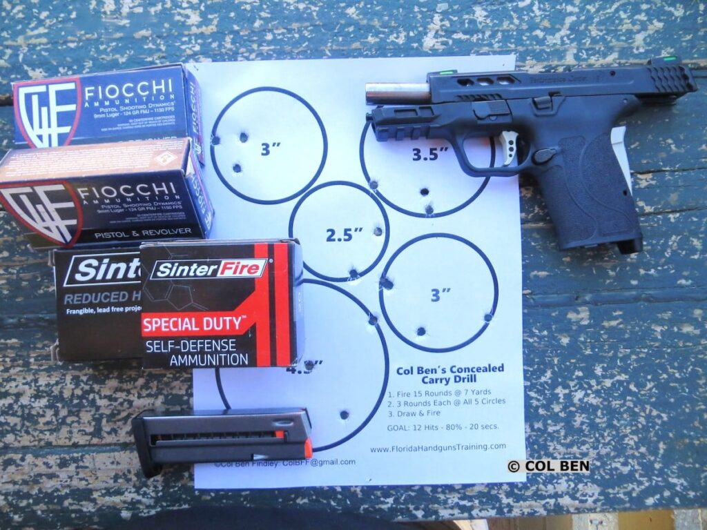 Performance Center M&P9 Shield EZ 9mm Target Hits at 7 Yards, Various Ammo, & My Concealed Carry Drill Circle Targets