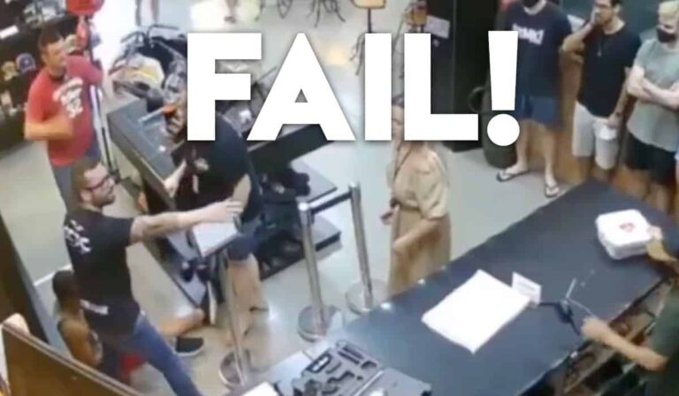 [VIDEO] Man At Gun Store Counter Violates All Safety Rules And Shoots Friend