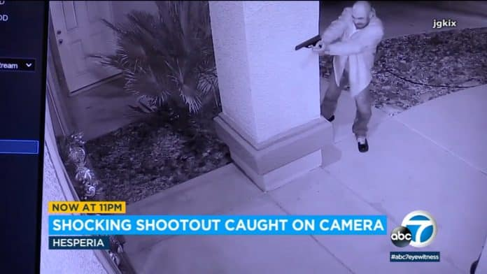 [VIDEO] Homeowner Exchanges Gunfire With Would Be Intruder On Other Side Of Front Door