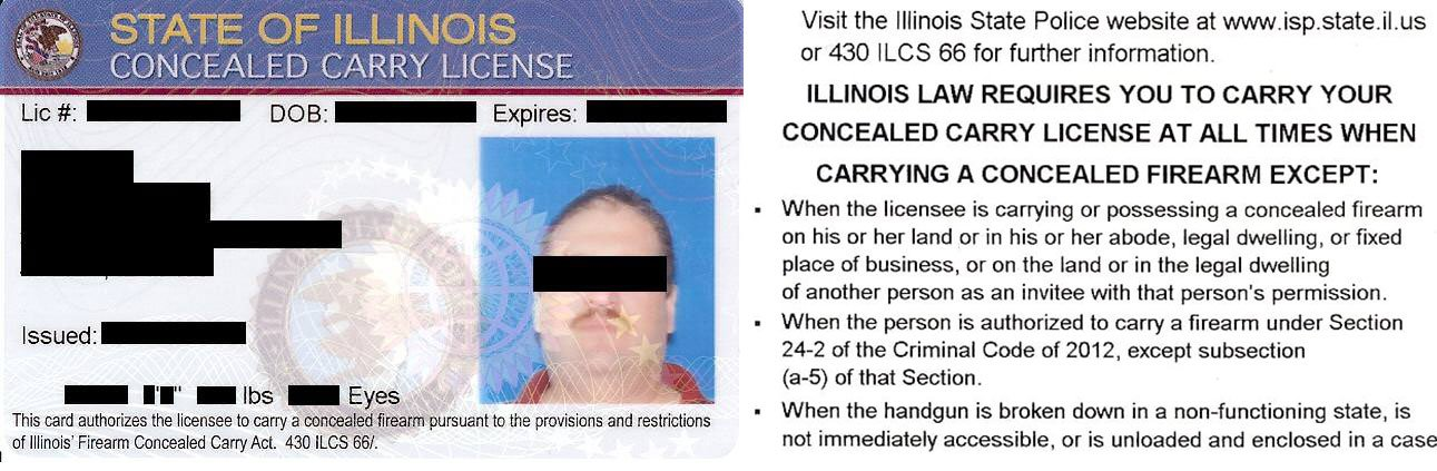 Illinois Concealed Carry License Example